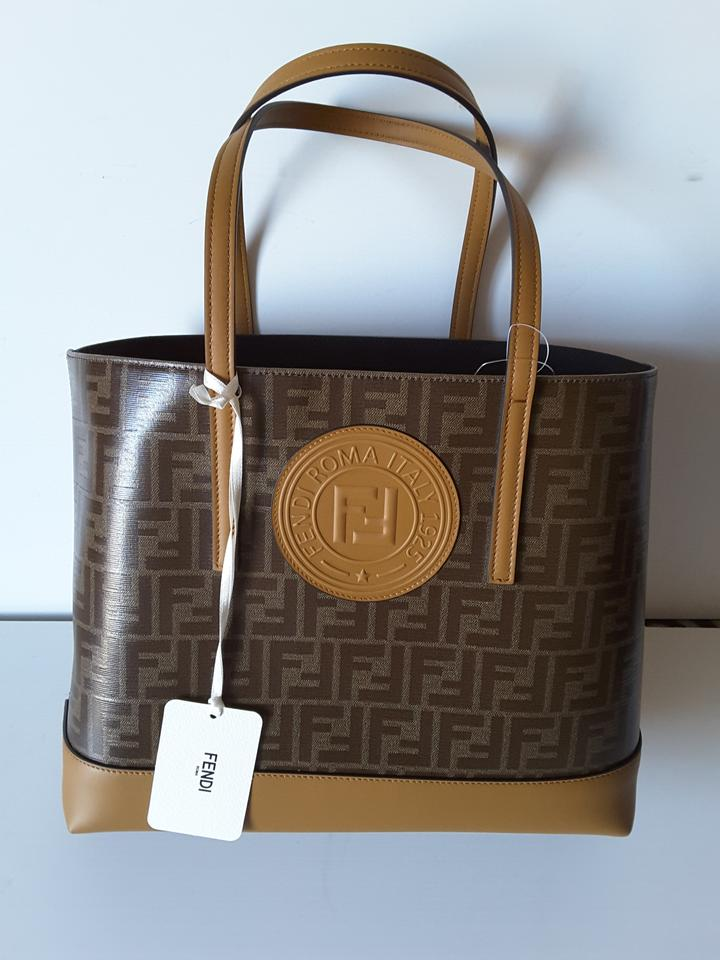 6a2d88385c Fendi Bag Ff Shopping Logo Brown Textile and Leather Tote 31% off retail