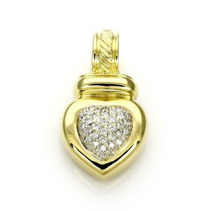 David Yurman Pave Diamond 18k Yellow Gold Heart Pendant