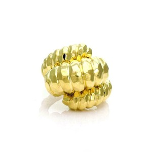 Henry Dunay Designs Triple Row Hammered Shrimp Style Ring in 18k Yellow Gold