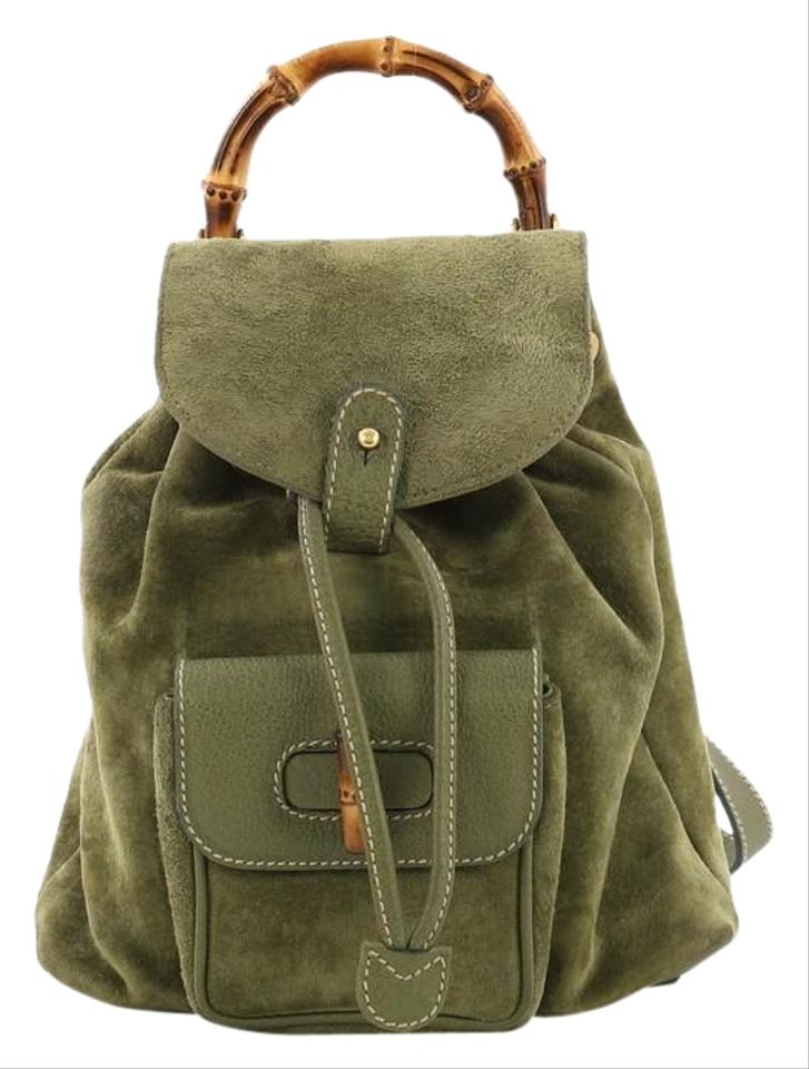 8b9dabd1f0b6 Gucci Vintage Bamboo Mini Green Suede Backpack - Tradesy