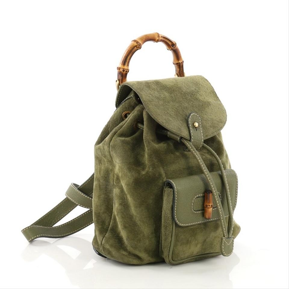 ad6fb04a5f2 Gucci Vintage Bamboo Mini Green Suede Backpack - Tradesy