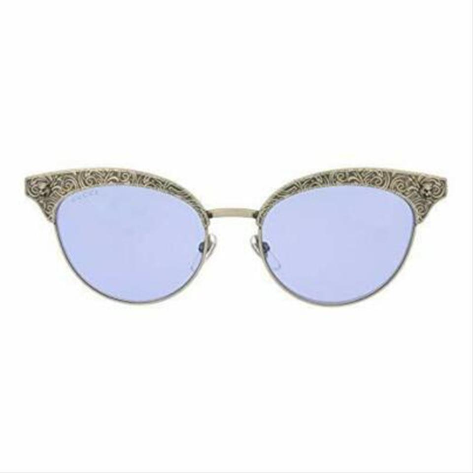 d3e0093dd5 Gucci Silver Frame   Violet Mirrored Lens Gg0220s 005 Cat Eye Style ...