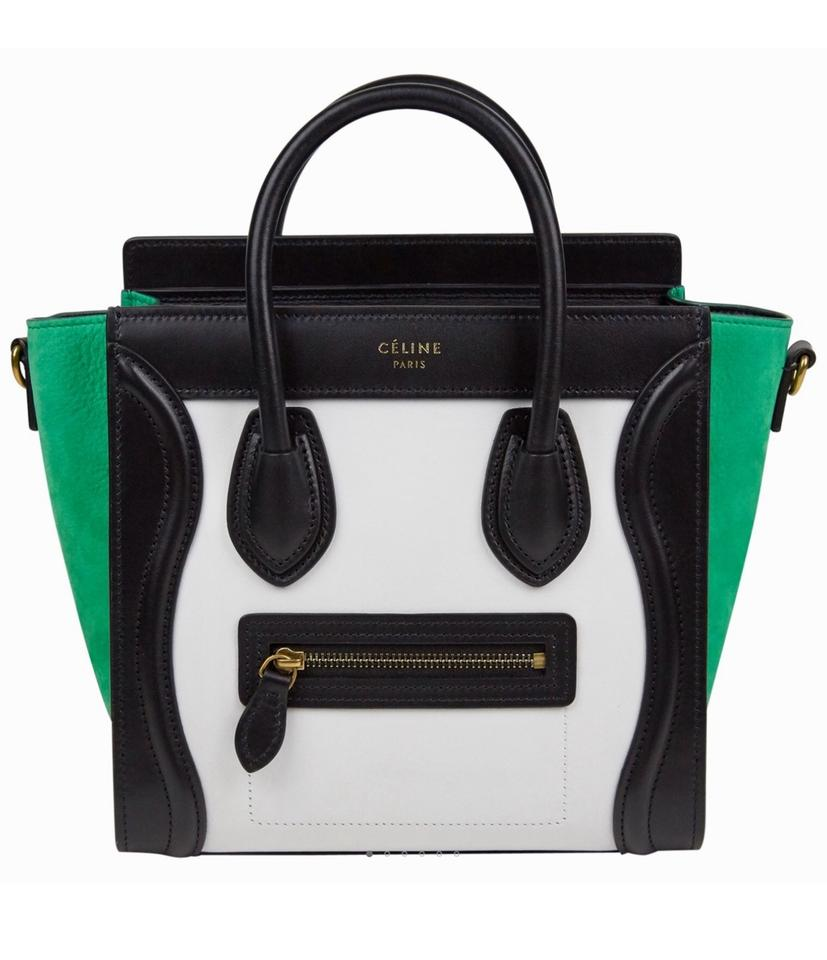 0411f7d813c Céline Luggage Nano Multicolor White Green Nubuck And Calfskin Leather  Cross Body Bag