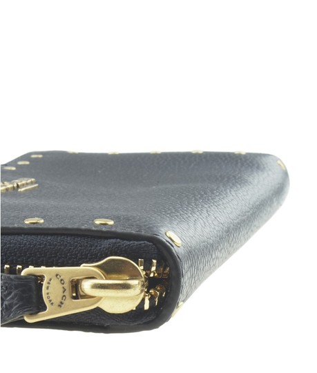 Coach Coach Slim Accordion Zip Blue Solid Leather Zippered Wallet (167749) Image 5