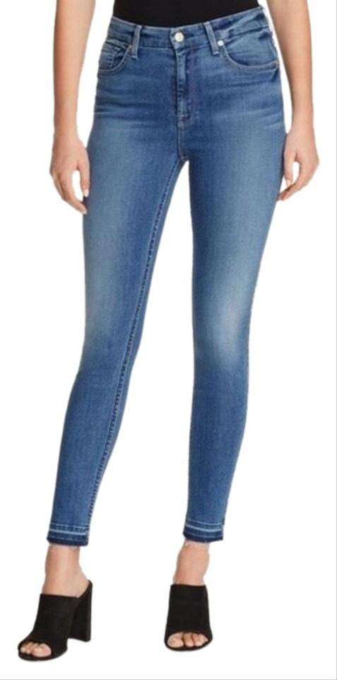f7ab7a180ba83 7 For All Mankind Blue Light Wash B(Air) Skinny Ankle Release Capri/Cropped  Jeans