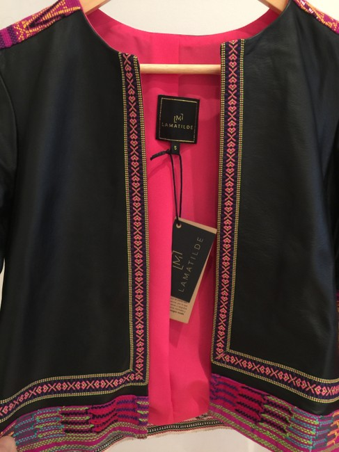 La Matilde Embroidered Mexican Hand-made Leather Jacket Image 2