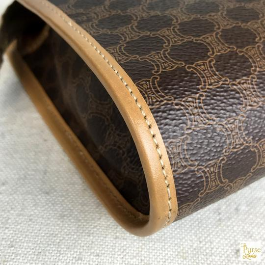 Céline Celine Brown Macadam Printed Coated Canvas Cosmetic Pouch Bag SALE!