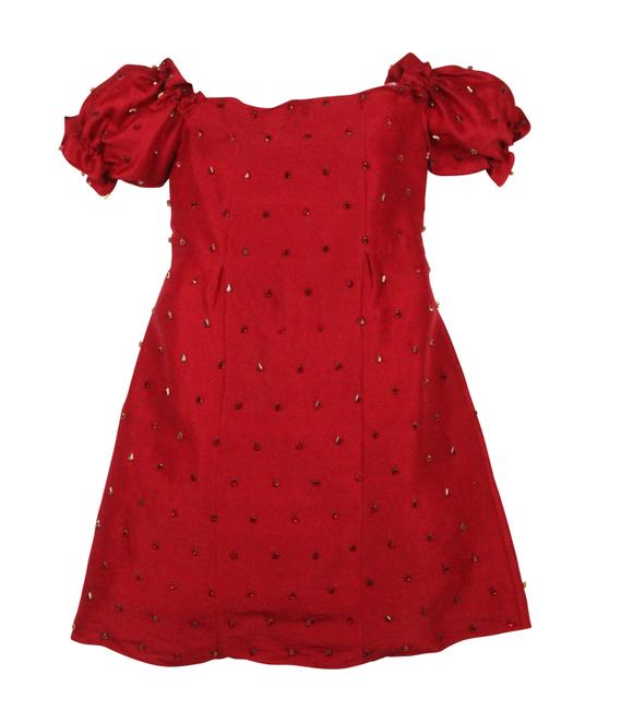 Item - Red Embellished Off The Shoulder Short Cocktail Dress Size 0 (XS)