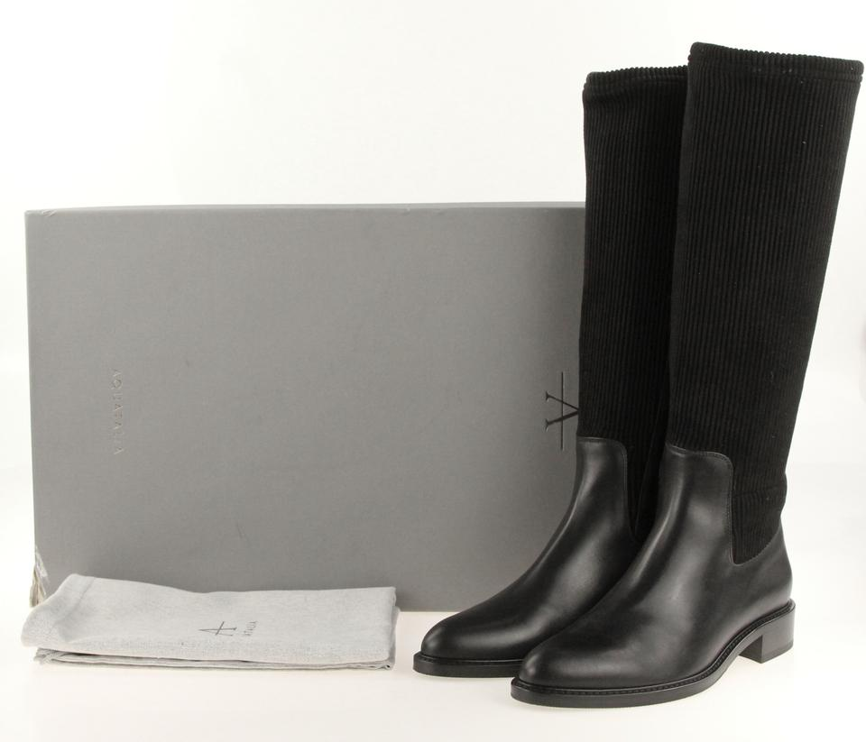 85178a2eb5a Ammco bus : Giulia black faux suede knee high flat boots