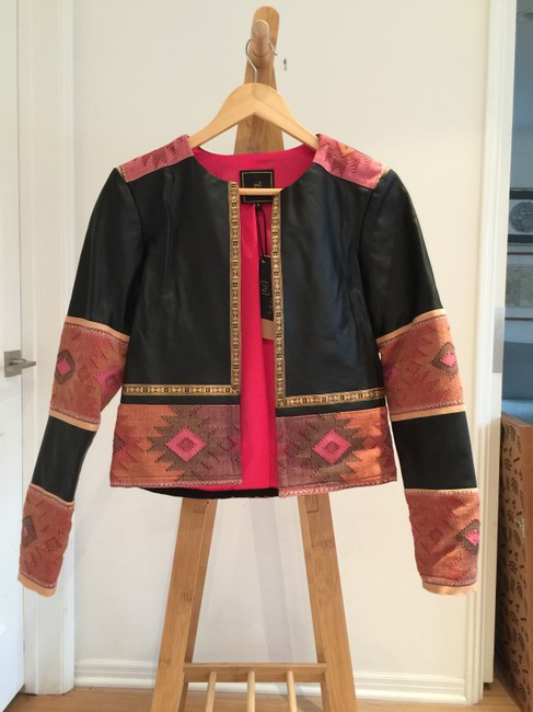 La Matilde Mexican Embroidery Leather Jacket Image 1