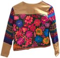 La Matilde Mexican Colorful Embroidery Embroidered Camel Leather Jacket Image 0