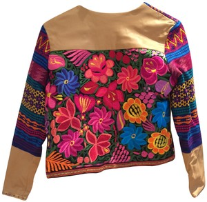 La Matilde Mexican Colorful Embroidery Embroidered Camel Leather Jacket