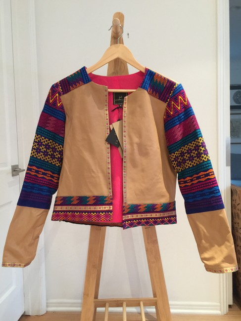 La Matilde Mexican Colorful Embroidery Embroidered Camel Leather Jacket Image 1