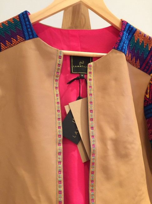 La Matilde Mexican Colorful Embroidery Embroidered Camel Leather Jacket Image 3