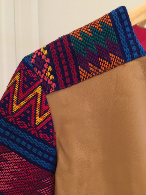 La Matilde Mexican Colorful Embroidery Embroidered Camel Leather Jacket Image 5