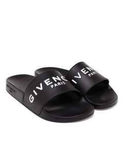1af6ae952b28 Givenchy Logo Monogram Peep Toe Jelly Pool Slides Black Sandals