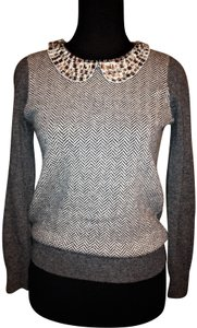 J. Crew Crystal Embellished Collar Herringbone Design Sweater