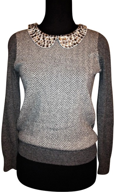 Preload https://img-static.tradesy.com/item/24979401/jcrew-embellished-collar-herringbone-wool-blend-heather-grey-sweater-0-1-650-650.jpg