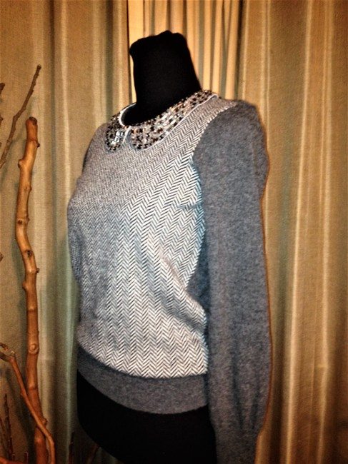 J. Crew Crystal Embellished Collar Herringbone Design Sweater Image 1