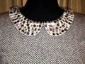 J. Crew Crystal Embellished Collar Herringbone Design Sweater Image 2
