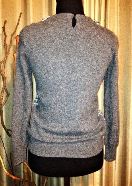 J. Crew Crystal Embellished Collar Herringbone Design Sweater Image 3