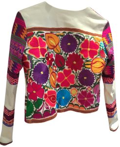 La Matilde Mexican Embroidery Embroidered Ivory Leather Jacket
