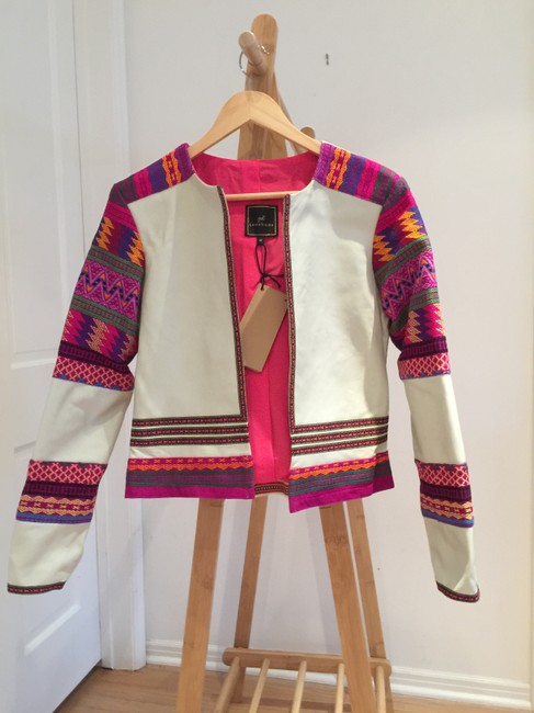 La Matilde Mexican Embroidery Embroidered Ivory Leather Jacket Image 1