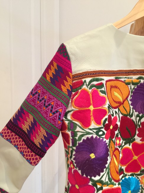 La Matilde Mexican Embroidery Embroidered Ivory Leather Jacket Image 6