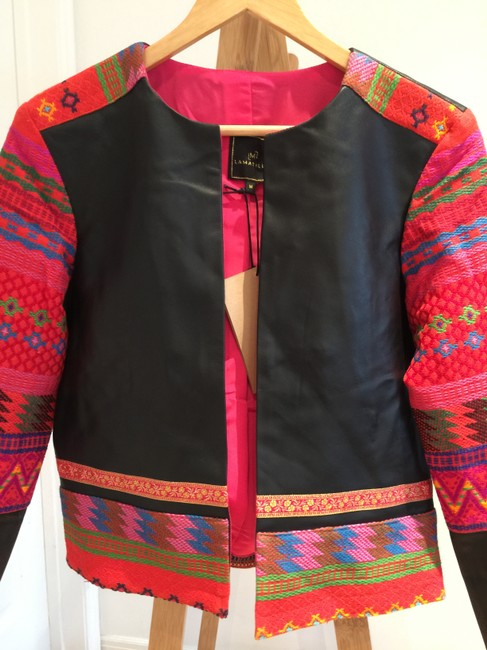La Matilde Embroidered Floral Mexican Leather Jacket Image 3