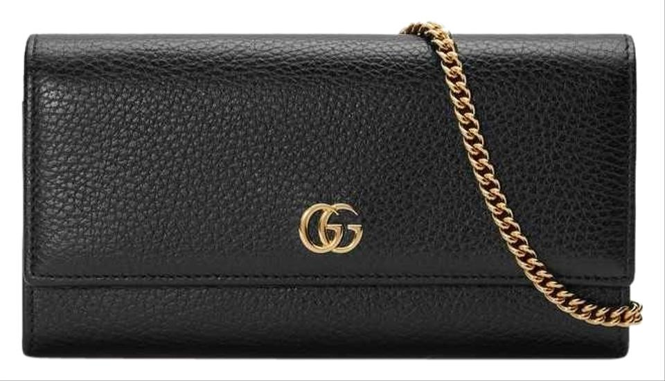 07f459e98 Gucci Marmont Gg Wallet On Chain Black Calfskin Leather Shoulder Bag ...