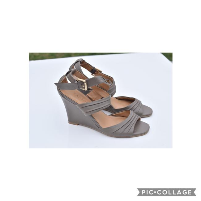 Item - Gray Ankle Wrap Wedges Size US 7 Regular (M, B)