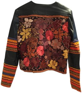 La Matilde Embroidered Floral Mexican Leather Jacket
