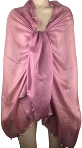 Unbranded NEW PINK SILK & LINEN BLEND SCARF WRAP SHAWL, WHITE PEARLS, 33