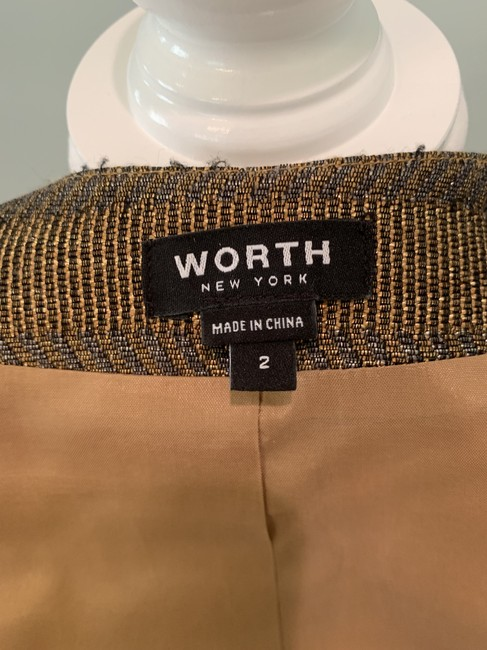 Worth Fitted Metallic Woven Grey and Gold Jacket Image 1