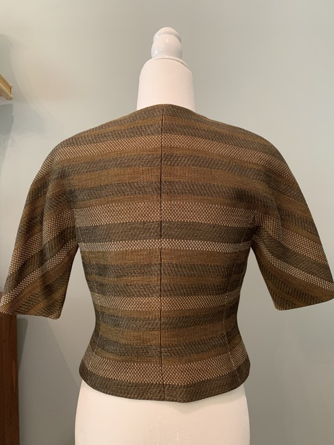 Worth Fitted Metallic Woven Grey and Gold Jacket Image 2