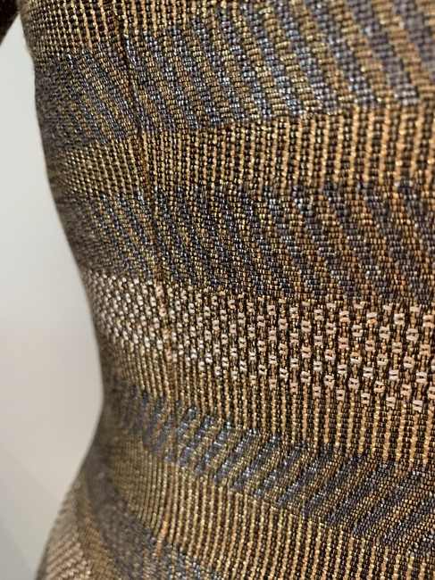 Worth Fitted Metallic Woven Grey and Gold Jacket Image 3