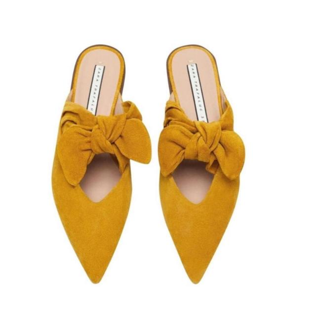 Item - Mustard New Cow Leather with Bow Mules/Slides Size US 11 Regular (M, B)