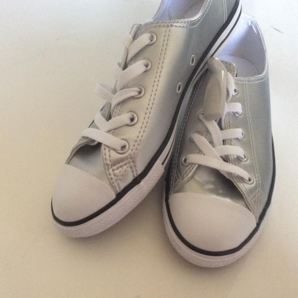 450dc25a2a3b Converse Silver Ctas Daintly Metallic Leather Ox Sneakers Size US 7 ...