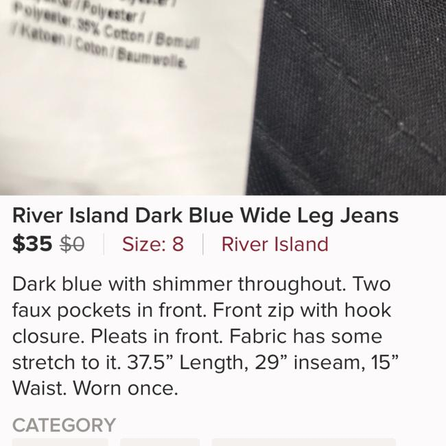 River Island Trouser/Wide Leg Jeans-Dark Rinse Image 5