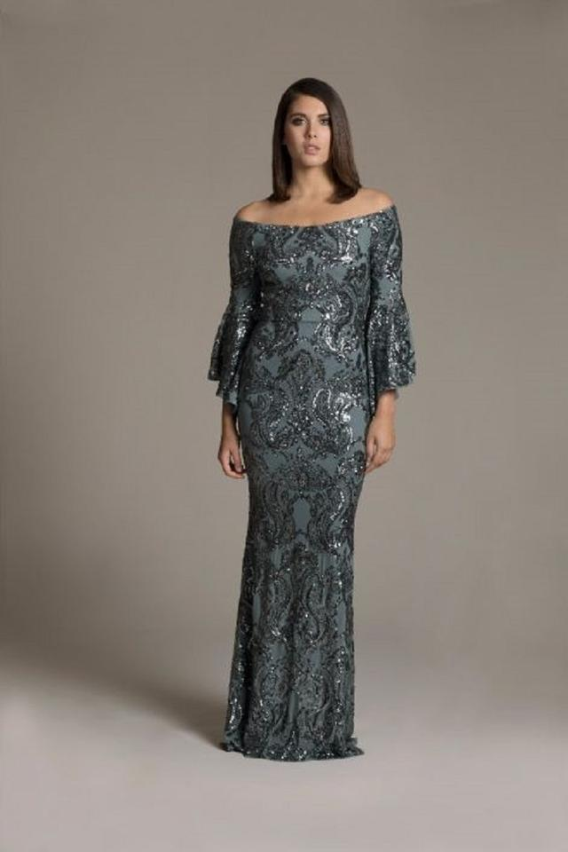 afdd4dd5d1e Betsy   Adam Black Sequined Off-the-shoulder Gown Long Formal Dress ...