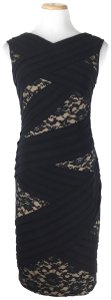 Adrianna Papell short dress Black Sheathdress Lace Tiered on Tradesy