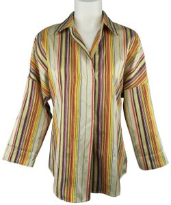 8f4122eb566ad5 Akris Punto Stripe Silk Tunic Rainbow Top Multi-Color