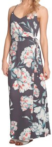 Multi Maxi Dress by 1.STATE Lush Floral Print Side Tie Closure Surplice Neck Flattering Fit Lined