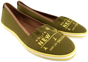 493a9a6d04c3 Tory Burch Canvas Leather Trim Slip-on Travellers Sneakers Olive Tan Flats