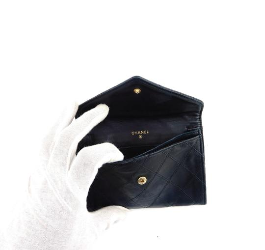 Chanel Quilted Lambskin Leather Envelope Clutch Wallet France