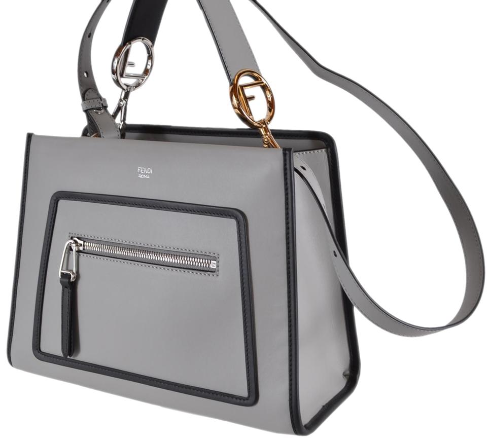 0d29b935254f05 Fendi New 8bh344 Smooth Calf Runaway 2-way Purse Tote Grey Leather Shoulder  Bag