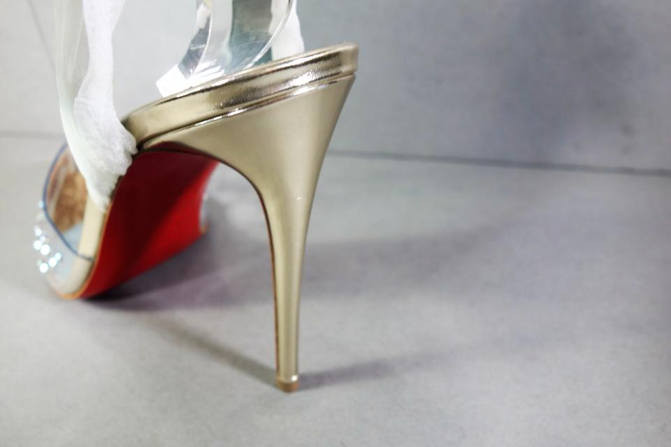 11a4a93466c Christian Louboutin Silver & White Miragirl 100 Pvc Chiffon Ankle Strap  Crystals Point New Pumps Size EU 36.5 (Approx. US 6.5) Regular (M, B)