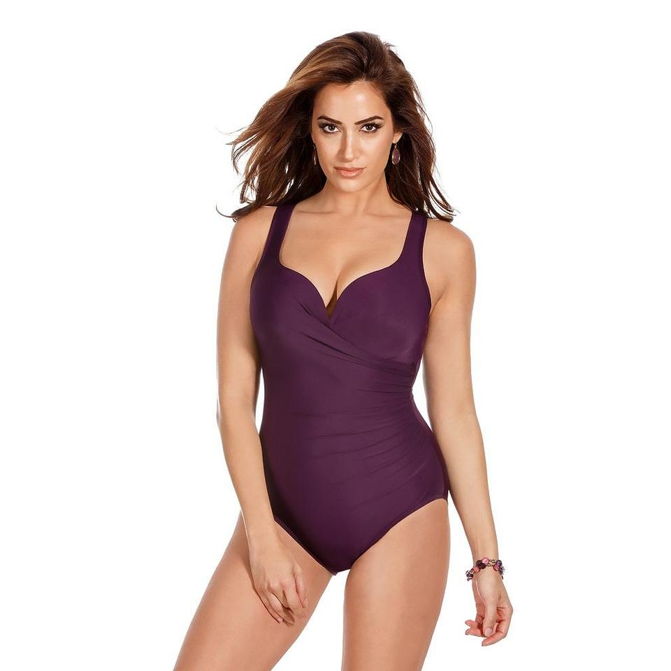 3c942237b4b97 Miraclesuit Plum Purple Wraptress Molded Cup Tummy Control Swimsuit ...