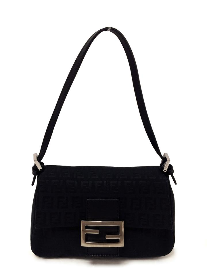 1cc0a7f1 Fendi Zucchino Mini Mama Baguette Black Fabric Shoulder Bag
