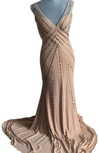 Item - Champaign/Beige Mermaid Gown with Romantic and Edgy Detail Long Formal Dress Size 6 (S)